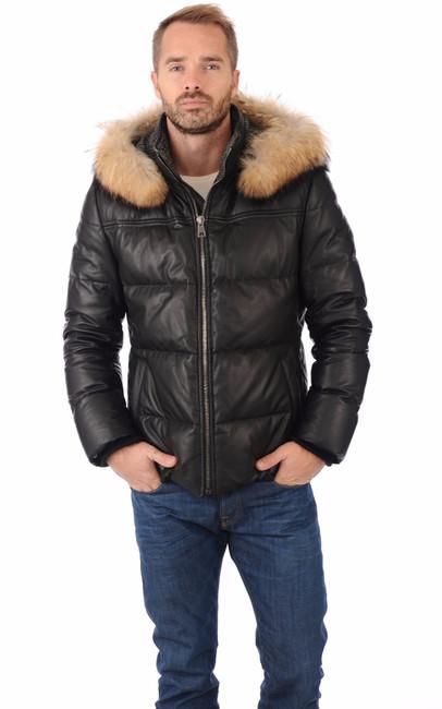 doudoune en cuir pour homme la canadienne la canadienne doudoune parka cuir noir. Black Bedroom Furniture Sets. Home Design Ideas