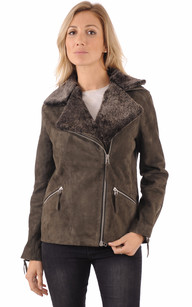 Blouson style Perfecto Cuir Velours1