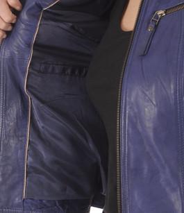 Blouson Cuir Femme Bleu La Canadienne