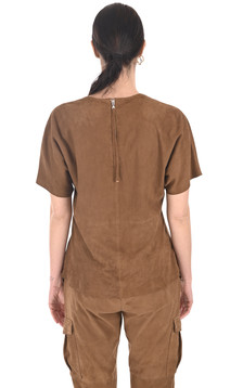 Top cuir velours cognac