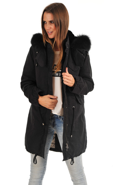 parka textile fourrure femme iq berlin la canadienne doudoune parka textile noir. Black Bedroom Furniture Sets. Home Design Ideas