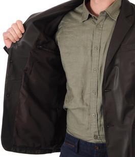 Blazer marron cuir homme la canadienne la canadienne veste 3 4 cuir marron - Blazer homme marron ...