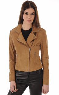 Blouson City Girl Cuir Velours Camel1