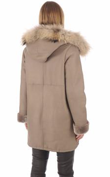 Manteau peau lainée Xenia taupe