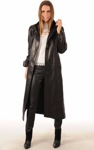 Manteau tres long cuir femme