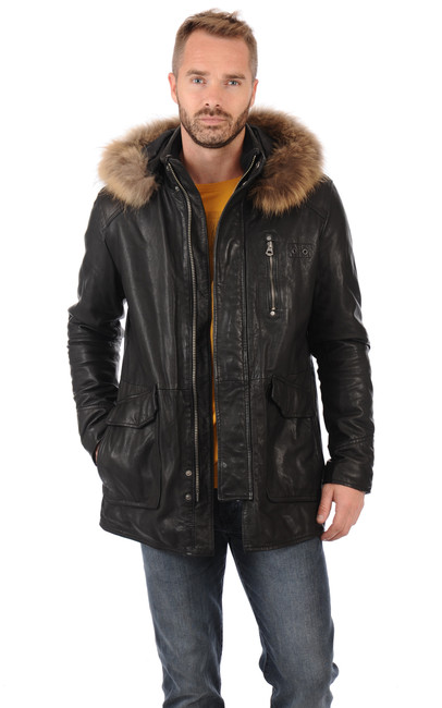 parka en cuir homme avec fourrure daytona 73 la. Black Bedroom Furniture Sets. Home Design Ideas