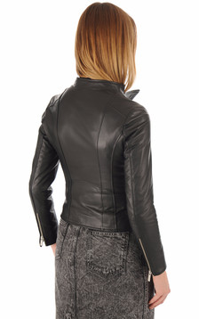 Blouson cuir agneau noir
