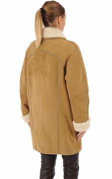 Veste agneau camel esprit vintage