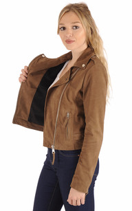 Blouson City Girl Cuir Velours Taupe