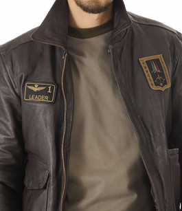 Blouson Cuir Marron Aviation Italienne Aeronautica Militare