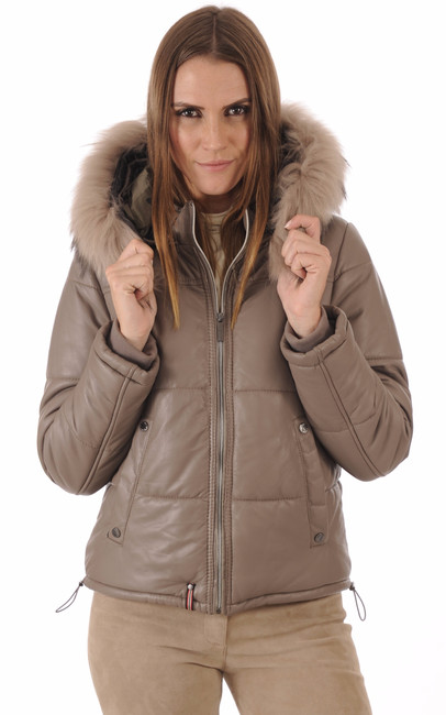 doudoune cuir femme avec fourrure oakwood la canadienne doudoune parka cuir taupe. Black Bedroom Furniture Sets. Home Design Ideas