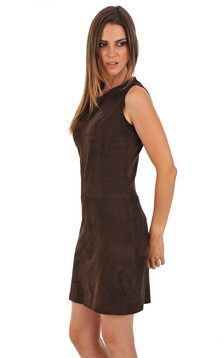 Robe cuir velours marron