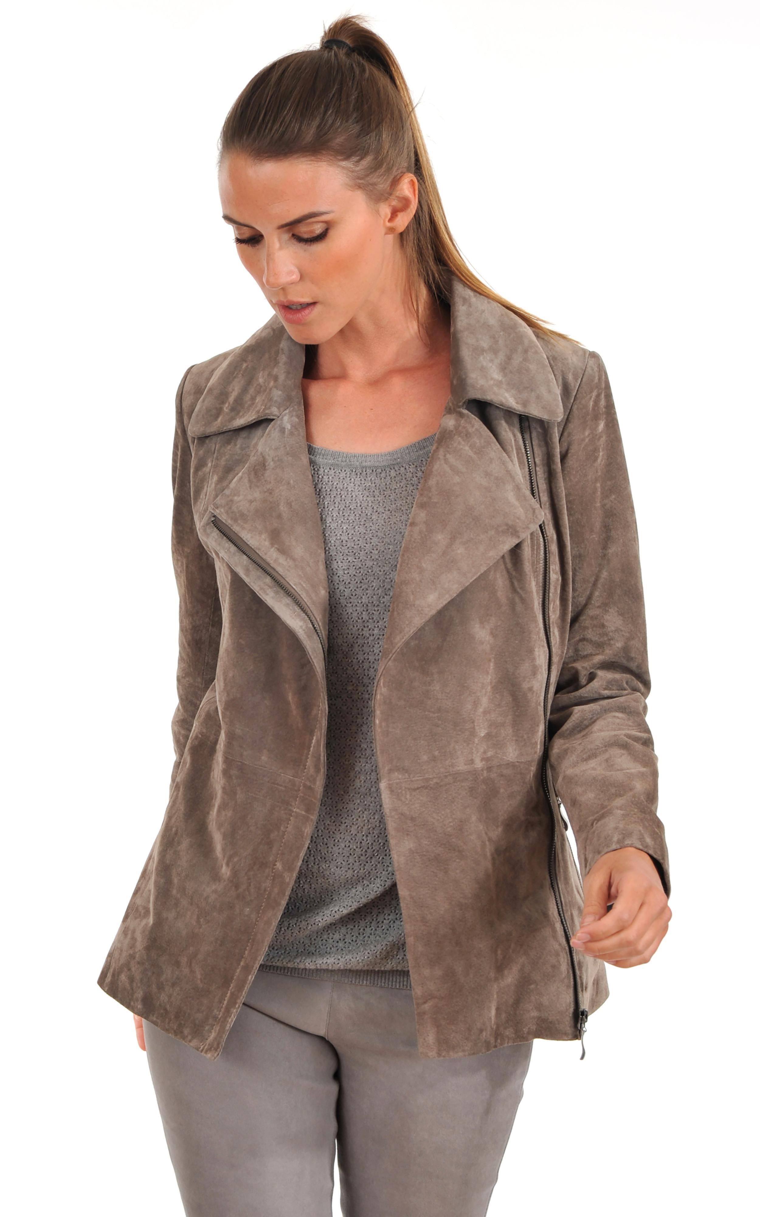 veste longue en daim femme la canadienne la canadienne veste 3 4 nubuck et daim gris. Black Bedroom Furniture Sets. Home Design Ideas