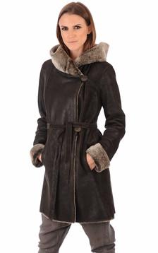 Manteau en merinillo à capuche