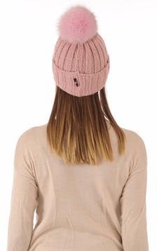 Bonnet laine et fourrure rose