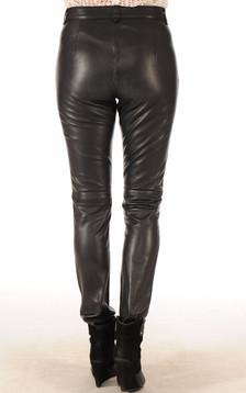 Pantalon Cuir Noir Coupe Ajustée