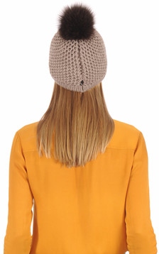 Bonnet laine et fourrure taupe