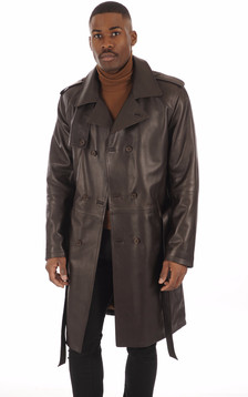 Trench Cuir Marron Homme