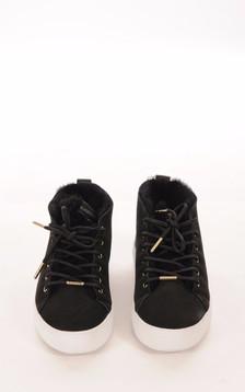 Baskets Cuir Velours Noir Femme1