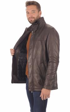 Veste cuir mouton marron homme