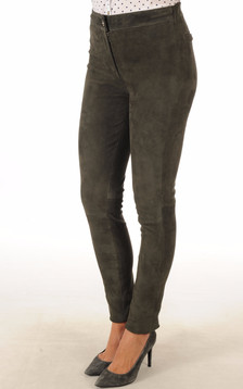Pantalon Cuir Velours Stretch