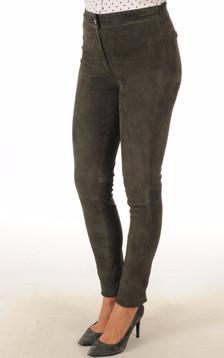 Pantalon cuir velours gris foncé