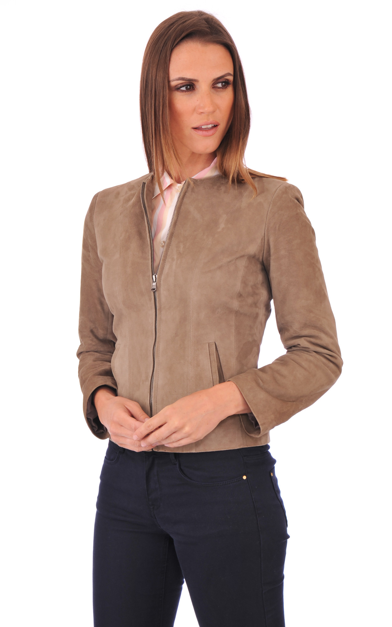 Blouson Aspect Daim Taupe Coupe Spencer1