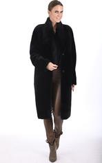 Manteau long mouton noir