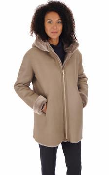 Manteau peau lainée Hélios taupe1