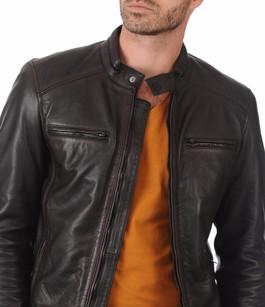 blouson cuir vachette bugatti - la canadienne - blouson cuir noir