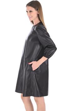Robe trapèze agneau noire