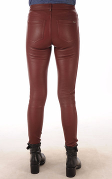 Pantalon Cuir Agneau Stretch Bordeaux