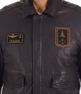 Blouson Pilote Cuir Marine Homme Aeronautica Militare