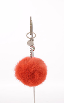 Porte Clef Fourrure de Lapin Orange