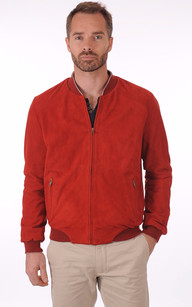 Blouson Teddy Cuir Velours Rouge1