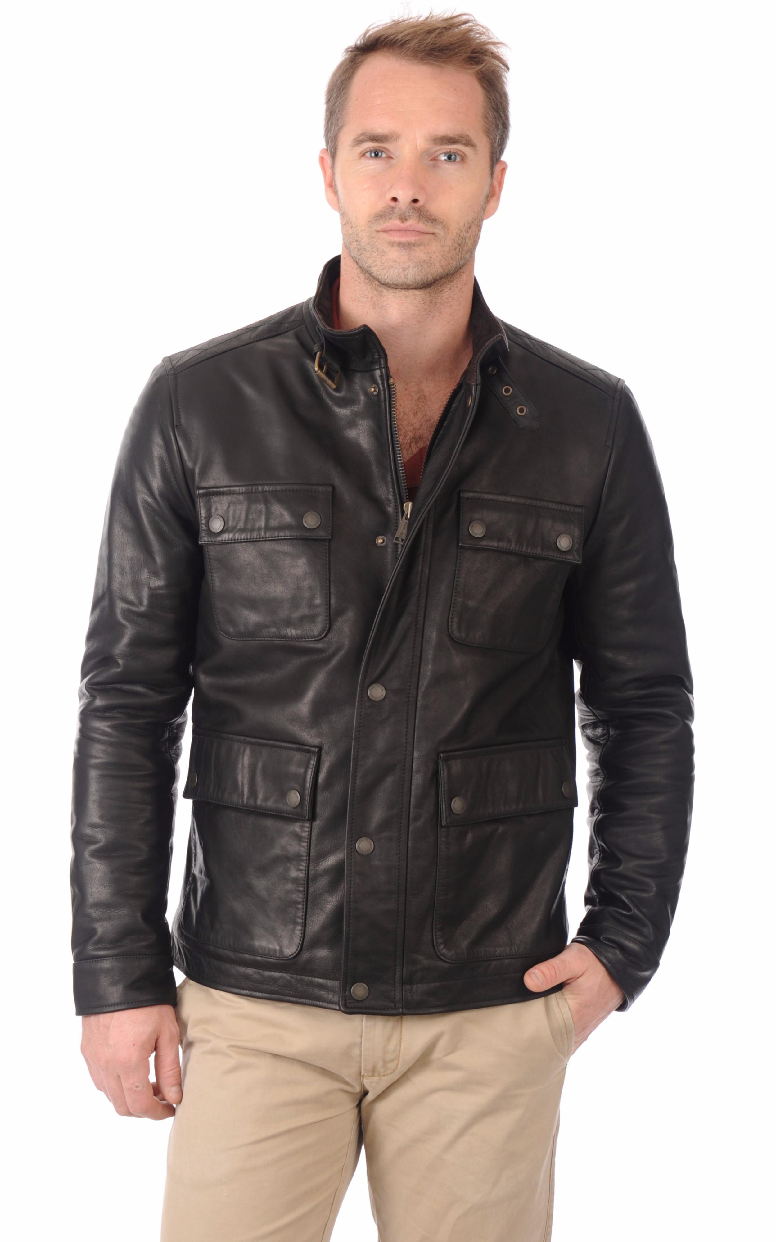 veste cuir style saharienne chevignon la canadienne veste 3 4 cuir noir. Black Bedroom Furniture Sets. Home Design Ideas
