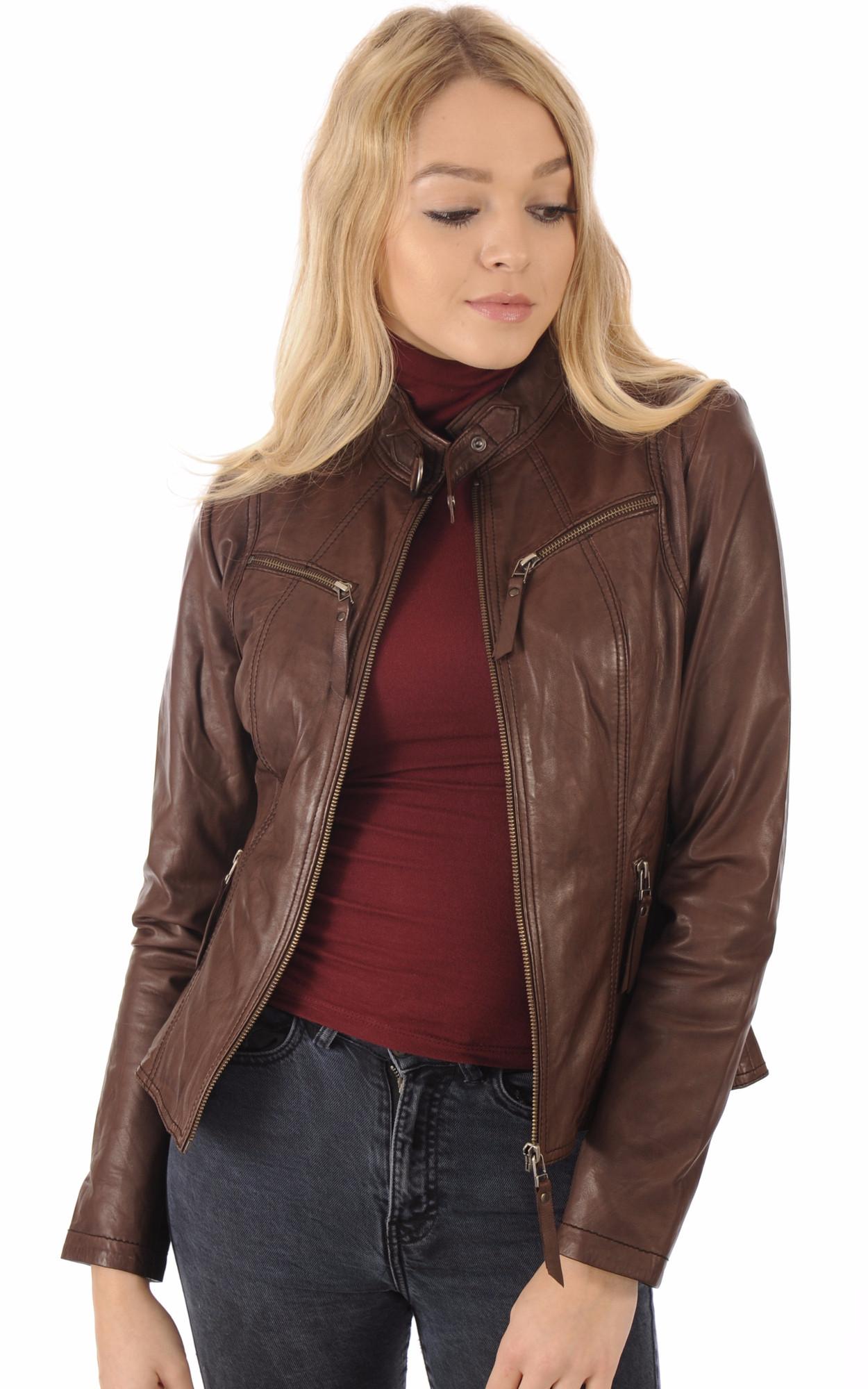 Veste blouson cuir femme marron