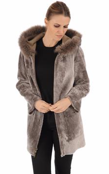 Veste réversible en agneau et renard